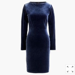 NWT J. Crew navy blue velvet sheath dress